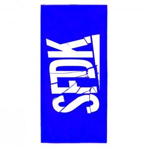 """Toalla azul """"LETRAS ROTAS"""""""