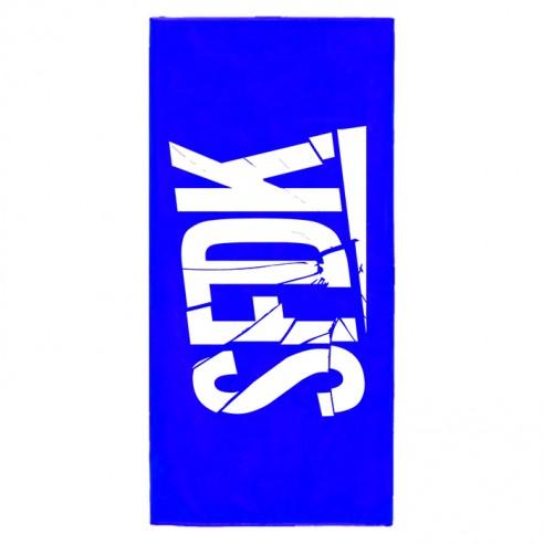 toalla azul letras rotas
