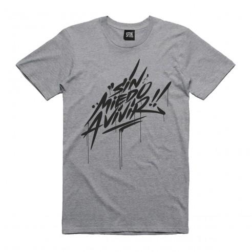 camiseta sin miedo a vivir gris